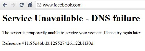 Facebook DNS Failure